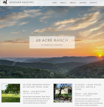 A beautiful brochure website to sell land in Texas.