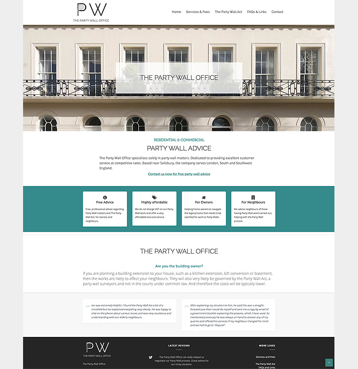 A website for a Surveyor, designed and maintained by New Forest Web Design