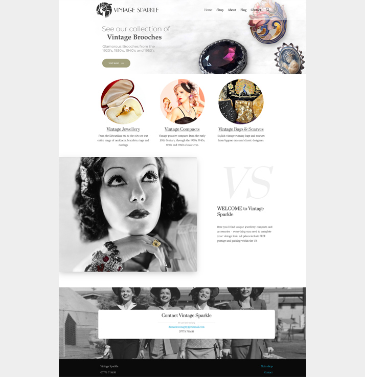 A jewellery website design by New Forest Web Design - made in Wordpress so our clients can edit it themselves.