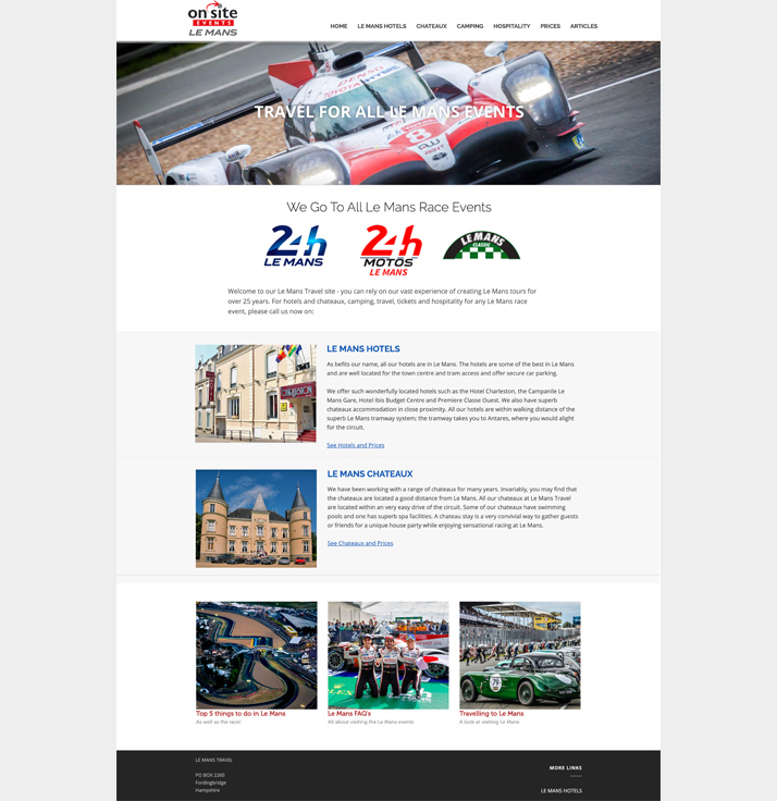 Travel to Le Mans races.  Web Design by New Forest Web Design