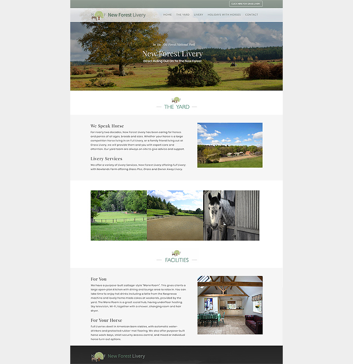 New Forest Livery have trusted us for years with their website design and upkeep.